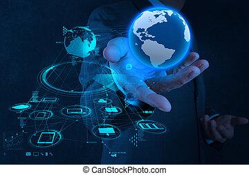 Geschäftsmann Handarbeit mit neuem modernen Computer zeigen die soziale Netzwerkstruktur der Erde als Konzept.