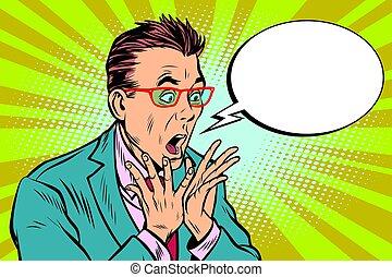 Geschäftsmann mit Brillenschlange, Schockreaktions-Überraschung