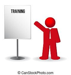 Geschäftsmann, Person mit Flip Chart. Training, Arbeit