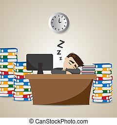 geschäftsmann, zeit, karikatur, arbeitende , eingeschlafen
