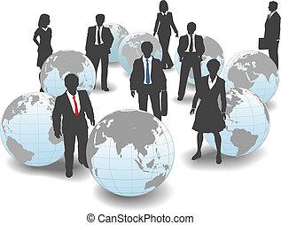 geschäftsmenschen, global, gefolgschaft, mannschaft, welt