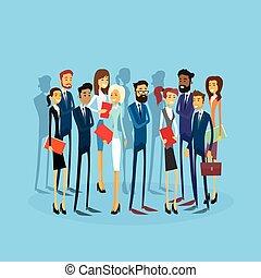 geschäftsmenschen, gruppe, businesspeople, wohnung, mannschaft