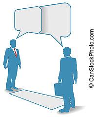 geschäftsmenschen, kommunikation setzt verbindung, treffen, talk