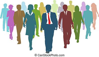 geschäftsmenschen, verschieden, menschliche , teamleiter, ressourcen