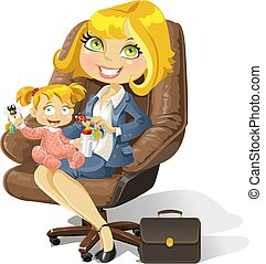 Geschäftsmutter mit einem kleinen Mädchen in einem Bürostuhl