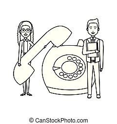 Geschäftspaar mit Retro-Telefon.