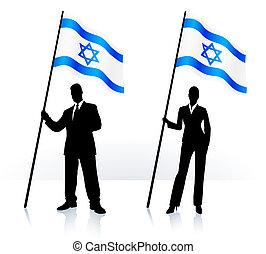 Geschäftsschmuggler mit Flagge Israels