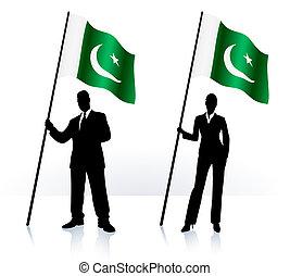 Geschäftsschmuggler mit Flagge Pakistans