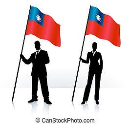 Geschäftsschmuggler mit Flaggen von Taiwan