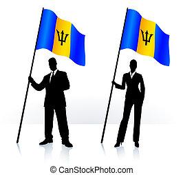 Geschäftssilhouette mit Flagge von Barbados