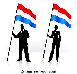 Geschäftssilhouette mit Flagge von Luxenburg