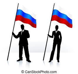 Geschäftssilhouetten mit winkender Flagge Russlands.