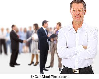 Geschäftsteam-Gruppengruppen, die sich lange aufhalten, befinden sich im weißen Hintergrund isoliert