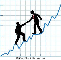 Geschäftsteam hilft, das Wachstum der Firma zu bestimmen