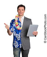 Geschäftstechnologie und tropischer Urlaub