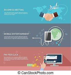 Geschäftstreffen, mobile Unterhaltung.