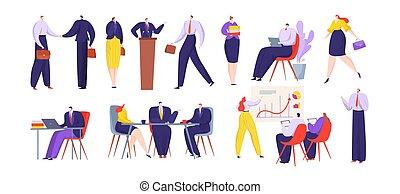 geschaeftswelt, angestellter, freigestellt, personengruppe, buero, arbeitende , satz, wohnung, vektor, karikatur, abbildung, weißes, aktive, zusammen, charaktere