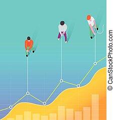 geschaeftswelt, linie, arbeit, concept., chart., ziehen, maenner, mannschaft
