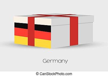 Geschenkbox mit der Flagge von Deutschland.
