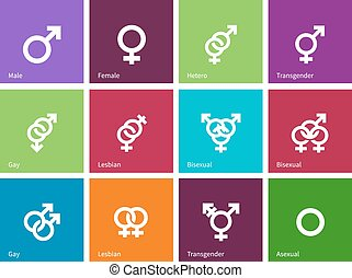 Geschlechtsidentitäten Icons auf Farbhintergrund.