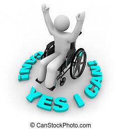 Geschlossene Rollstuhlfahrerin - ja, das kann ich