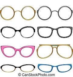 geschmack, jedes, sammlung, brille