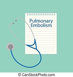 geschrieben, notizbuch, lungen, embolie