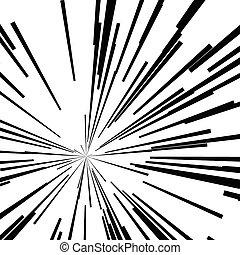 Geschwindigkeitsbeschleuniger, schwarze Linien, Sternenstoß.