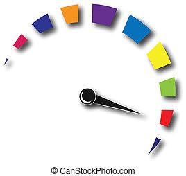 Geschwindigkeitsmesserfarbenes Logo