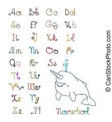 gesicht, kinder, narwhal, reizend, locken, baby, beispiel, schriftart, wort, einfache , alphabet, briefe, wal, lustiges