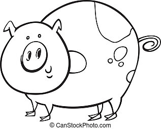 Gesichtetes Schwein für Farbbuch
