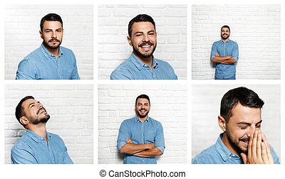 Gesichtsausdrücke von jungem Bartmann an der Mauer