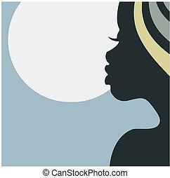 Gesichtsprofil einer afrikanischen Frau