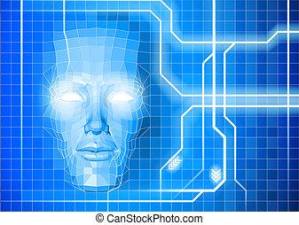 Gesichtstechnologie-Hintergrundkonzept.