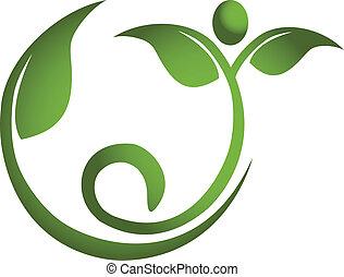 Gesunde Blattmenschen Fitness-Logo