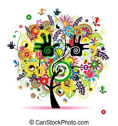 gesunde, energie, baum, design, kräuter, dein