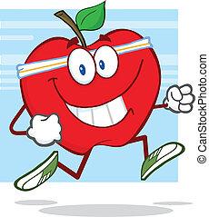 gesunde, jogging, apfel, rotes