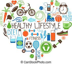 Gesunde Lifestyle-Diät und Fitness-Herzzeichen.