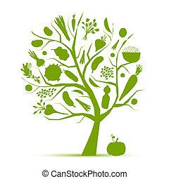 Gesundes Leben - grüner Baum mit Gemüse für dein Design