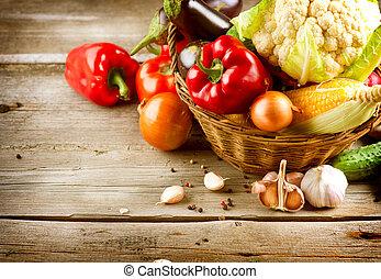 Gesundes organisches Gemüse. Bio-Essen