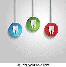 Gesundes weißes Zahnsymbol.
