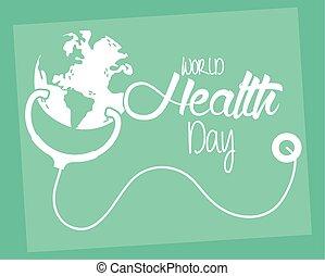 gesundheit, feier, erde tag, plakat, stethoskop