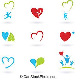 Gesundheit und medizinische Ikonen auf weiß