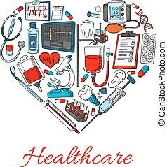 Gesundheits-Ikonen in Form von Herz.