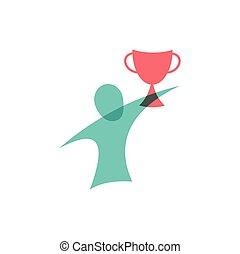 Gewinner mit dem Becher-Icon. Logodesign.