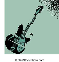 Gezerrte Gitarrenmusik.
