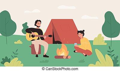 gitarre, abbildung, hintergrund, wohnung, lager, kerl, glücklich, camping, charaktere, vektor, karikatur, sitzen, spielende , zelt, nächste, wohnmobil, tourist, musik, lagerfeuer