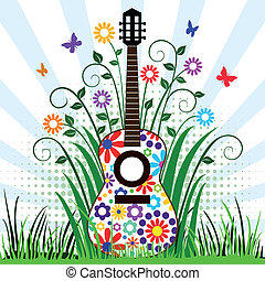 gitarre, wiese