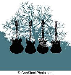 Gitarrenbaummusik im Hintergrund.