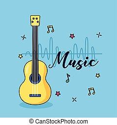 Gitarrenmusik farbenfroher Hintergrund.